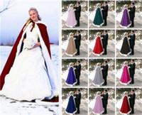 Wholesale champagne fur bolero resale online - Winter Fur Bridal Coat Wraps Jackets with Hat Cheap Bridal Wraps Warm Newest Long Wedding Cloak Capes Bolero