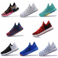 kds basketbol ayakkabıları toptan satış-2018 KD 10 EP Basketbol Ayakkabı En kaliteli Doğru Sürüm için Kevin Durant X kds 10 s Gökkuşağı Kurt Gri KD10 FMVP Spor Sneakers ABD 7-12