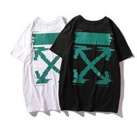 flecha verde t shirts al por mayor-19SS Nuevo Patrón Flecha Verde Impresión de Letra de Manga Corta T T-shirt Tendencia Hombres Y Mujeres Amantes Párrafo de Manga Corta