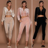 Wholesale top fitness bands for sale - Group buy Dropship Women Autumn Tracksuit Zipper Jacket Crop Top Elastic Band Suede Jogging Suits Running Fitness Gym Sportswear Suit