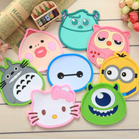 Wholesale totoro mat for sale - Group buy 1 Silicone Dining Table Placemat Coaster Kitchen Accessories Mat Cup Bar Mug Cartoon Animal Owl Totoro Minions Drink Pads