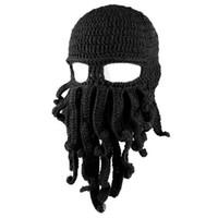 sombreros de pulpo gorras al por mayor-Unisex Winter Warm Octopus Tentacle Mascarilla completa Sombrero de punto Gorra de esquí Pasamontañas