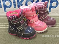 Wholesale russian snow boots resale online - wallvell Exported to Russian girl snow boots wool inside the children winter thick cotton boots waterproof