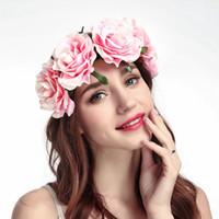 diadema flores grandes para las niñas al por mayor-14 colores Elegantes Mujeres Hairband Retro Grandes Niñas de Rose Flor de Gasa Diadema de Moda Accesorios para el cabello