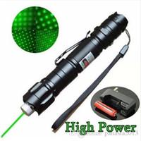 lazerli piller toptan satış-Yüksek Güç 5 mW 532nm Lazer Pointer Kalem Yeşil Lazer Kalem Yanan Işın Işık Su Geçirmez Ile 18650 Pil + 18650 Şarj
