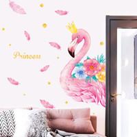 ingrosso adesivi per decalcomanie da camera-1 pz 110 * 143 cm fashion dream flamingo home decor wall stickers Decal in carta da parati per bambini soggiorno camera da letto wall art pictures Decorazioni