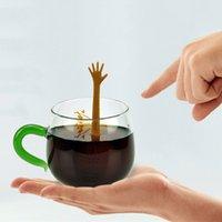 kelebek kahvesi toptan satış-Jest El Sinyal Şekilli Silikon Kelebek Şekilli Çay Demlik Süzgeç Çay Filtre Mutfak Gadget Kahve Herb Spice Filtre