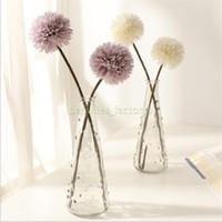 ingrosso palline finte-Fiori di palla di crisantemo artificiale Bouquet di fiori Ristorante Home Office Table Decor Fiori finti 5 colori Lunghezza totale 32 cm