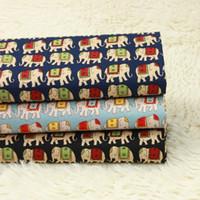 nationale diy großhandel-halber Yard normales Baumwollgewebe Elefant Retro- nationaler Winddruckgewebe, handgemachtes DIY Beutelkleid-Tuch 100% Baumwolle D30
