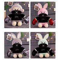 Wholesale stuffing box resale online - Boxing Monkeys Stuffed Animals Cartoon Angry Rabbit Plush Toy Children Girls Doll Sleep Hold Pillow Birthday Present dm3 O1