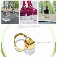mini bouteilles d'huile essentielle achat en gros de-Nouveau portable 6 ML mini bouteille en verre bouteille de parfum 4 couleurs épaisse bouteille en verre HUILE ESSENTIELLE bottlecar pendentif décoration de la maison T2I5077