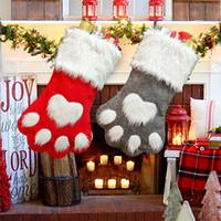geschenkkatzen großhandel-Weihnachtsfeier Hund Katze Pfote Strumpf hängen Socken Baum Ornament Dekor Strumpfwaren Plüsch Weihnachten Socken Kdis Geschenk Candy Bag LJJA2919