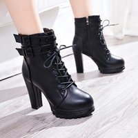 Wholesale women ankle booties for sale - Women fashion comfortable booties winter new ladies sexy wild shallow mouth comfortable high heel boots Female boots v84