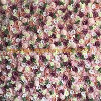 Wholesale flowers white background resale online - 12 D artificial flower wall wedding pink and white flower wall wedding background home decoration YH1079