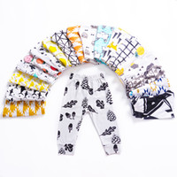 Wholesale straight figure for sale - Group buy 21 Design kids INS pp pants fashion baby toddlers boy s girl s animal raccoon panda strawberry geometric figure Print pants trousers Legging