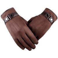 luvas climáticas venda por atacado-Inverno Quente Luvas Touchscreen dedo Suede Fabric Driving completa Luvas Tempo frio de alta qualidade luvas de tela de toque