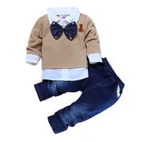Wholesale baby bow bear resale online - Baby Boys Denim Suit Kids Suit Pants Kids Designer Brand Clothes Boys Long Sleeve Suit Bow Bear Embroidery Lapel
