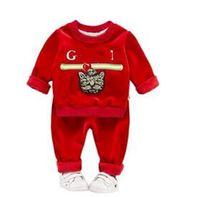 Wholesale cute baby sports clothes resale online - Hot Sale Designer label Children Sport Clothing Sets Baby Boys Girls Jacket Pants Kids Brand Sweatshirt Trousers Clothes Toddler