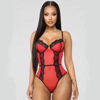 bodysuit mulheres teddy venda por atacado-Lingerie para mulheres V profundo Babydoll Teddy Lace uma peça Bodysuit