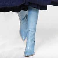 gelbe schwarze high heels großhandel-Seltsame Stil High Heel Oberschenkel Hohe Stiefel Frauen Eunice Choo 2018 Herbst Schwarz Weiß Gelb Leder Wedges Slip on Knee Boots