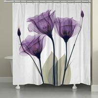ingrosso casa del fiore del tessuto-Eco-friendly di memoria casa Decration moderna lavanda Speranza Flower Stampa bagno cortina di poliestere impermeabile Tessuto della tenda doccia