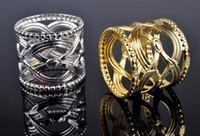 metall rund chinesisch großhandel-Großhandel Fabrik 100 stücke Directsale Runde Geschnitzte Chinesischen Stil Serviettenring Hohl Muster Runde Gold Silber Halter