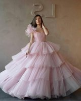 Wholesale age 12 dresses resale online - Light Pink One Shoulder Ball Gowns Quinceanera Dresses Tulle Tiered Cupcake Formal Long Prom Dresses Sweet Age Vestidos De Quinceanera