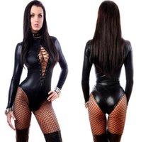 ingrosso costume sexy del vinile nero-Donne di cuoio sexy del vinile nero Bodysuits Erotic Body Costumi gomma flessibile Hot Latex Catsuit Catwomen Costume