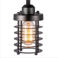 suspensão luminárias de cozinha venda por atacado-Luzes de Teto Industrial do vintage Cabeça Única Gaiola De Ferro Projeto Luminária Lâmpada Bar Cozinha Sala de Estar Pendurado Luminárias de Luz Para Casa