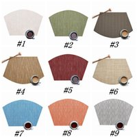 Wholesale chinese stocks resale online - 9 Colors Fan Shaped Tableware Pad PVC Western Style Food Mat Non Slip Heat Insulation Placemat cm Table Mat ZZA1211