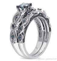 18k altın dolu göz takı toptan satış-Toptan Profesyonel Lüks Takılar 18k Beyaz Altın Dolgulu Mavi Safir CZ Diamond Taşlar Gözler Wedding Kadınlar Çift Yüzük Hediye Size5-11
