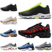 volt paketi toptan satış-Nike Air Max Plus erkek için Koşu Ayakkabıları Açgözlü METALIK PALM PAKETI HYPER CRIMSON Nötr Gri Volt OREO EKRAN YEŞIL Erkek Trainer Spor Sneakers