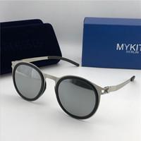 Wholesale mykita sunglasses for sale - Group buy new mykita sunglasses ultralight frame without screws MKT DD2 round frame flap top men brand designer sunglasses coating mirror lens