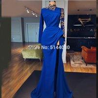 vestido dorado azul real largo al por mayor-Vestidos de noche musulmanes azul real 2019 Mangas largas Cuello alto Cristal dorado Vestido de fiesta de graduación de Arabia Saudita Robe De Soiree Longo