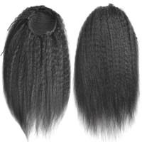 grampo livre cabelo hairpieces venda por atacado-Cordão Afro Puff Kinky Em Linha Reta Rabo de Cavalo Cabelo Humano Bun Chignon Peruca Para As Mulheres Updo Clipe na Extensão Do Cabelo 120g navio livre