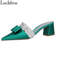 Wholesale red silk slippers resale online - Bowtie Rhinestone Pointy Toe Slippers Woman Chunky Heels Mule Shoes Slip On Silk Slides Green Shoes Woman