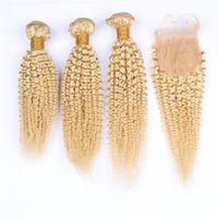 32 inç sapık kıvırcık saç toptan satış-Kinky Kıvırcık # 613 Sarışın Virgin Brezilyalı İnsan Saç 3 Demetleri ile Üst Kapatma 4 Adet Lot Sarışın Bakire Saç Örgüleri ile 4x4 Dantel Ön Kapatma