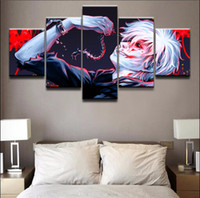 Wholesale multi panel canvas wall art for sale - Group buy Wall Art Modular Picture Panel Modern Canvas Printed Anime Ken Kaneki Tokyo Ghoul Posters Home Decor For Living Room Painting