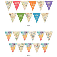 string flag banner groihandel-15 * 18,5 cm 3 Styles Fashion Map Bunting Bunte Weltkarte Hanging Banner gedruckt Triangles String Flag Startseite Party Decor Supplies BC BH1554