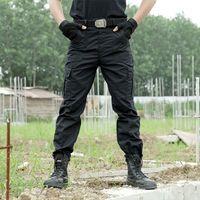 черные шорты оптовых-Black Cargo Pants Army  Tactical Pants Men Work Pantalones Combat SWAT Tactical Clothes Camo Overalls Casual Trouser