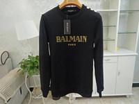 erkekler için siyah beyaz hoodie toptan satış-Balmain Erkek Tasarımcı Hoodies Pembe Beyaz Siyah Kırmızı Erkek Kadın Tasarımcı Balmain Uzun Kollu Tişörtü Boyutu S-XL