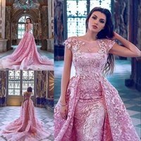 Wholesale sheath column crystal prom resale online - Zuhair Murad Hot Pink Mermaid Evening Dresses With Detachable Train Lace Appliqued Prom Wear Short Sleeve Backless Formal Gowns Dress
