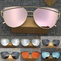 rafine kadınlar toptan satış-2019 Yeni Lüks Benzersiz Basit Rafine kadın Gözlük Metal Düz Lens Vintage Moda Aynalı Boy Fashionally Güneş Gözlüğü Charm Serin