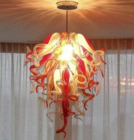 Wholesale red amber pendant resale online - New Designed Hand Blown Glass Chandeliers Lights Italian Retro Ceiling Lights Red Amber Colored Blown Glass Chandeliers Pendant Lights