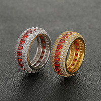 Wholesale whosale rings for sale - Group buy Size Whosale Hip Hop Rows Luxury Red Cubic Zircons Ring Gold Silver for Men Finger Rings