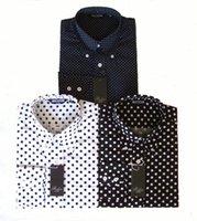 blaues hemd weiße tupfen großhandel-Relco Herren Polka Dot Pin Dot Langarm Button Kragen blau schwarz weißes Hemd