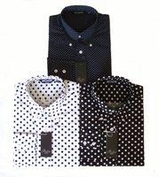 bolinhas brancas da camisa azul venda por atacado-Relco Mens Polka Dot Pin Dot Mangas Compridas Collar Botão Azul Preto Branco Camisa