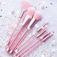 ingrosso borse rosa arrossamento-90 7pcs Set di pennelli per trucco 17CM Crystal Handle Diamond Plus Bag Colore rosa Capacità di riparazione del blush portatile Sciolto in polvere Cuore ragazza Ins PVC Bag