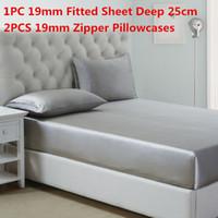 Wholesale deep queen sheet set online - 100 Mulberry Silk Bedding Sets MM Silk Fitted Sheet Deep cm Zipper Pillowcase Solid Dyed Silk Sheet Sets Multi Size