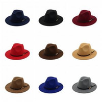 Wholesale felt hats for sale - Woman Fashion Vintage Felt hats Men Classic  Jazz hats Elegant a0f3083bebd2